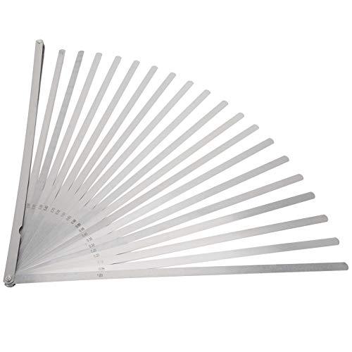 Calibradores de espesores, portátil de 20 cuchillas Medidor de espesor métrico de acero inoxidable Herramienta de medición de longitud de 500 mm, para verificar espacios entre dos superficies de junta