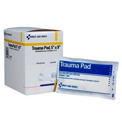 First Aid Only Trauma Pad, 5 Inch X 9 Inch, 10 Count Box