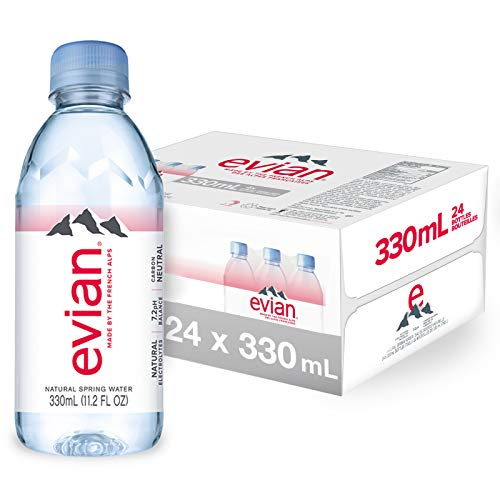 evian Natural Spring Water 330 mL/11.2 Fl Oz (Pack of 24) Mini-Bottles, Naturally Filtered Spring Water Small Water Bottles