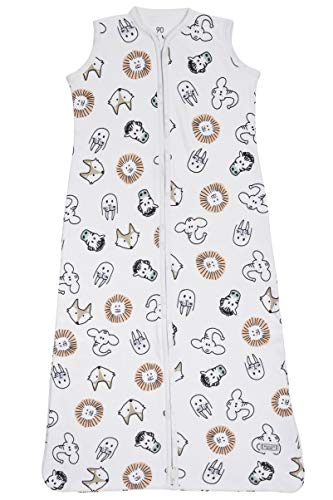 Meyco 511056 - Sacco nanna estivo, 90 cm, Interlock, 100% cotone, 6-18 mesi, motivo: Animal, multicolore