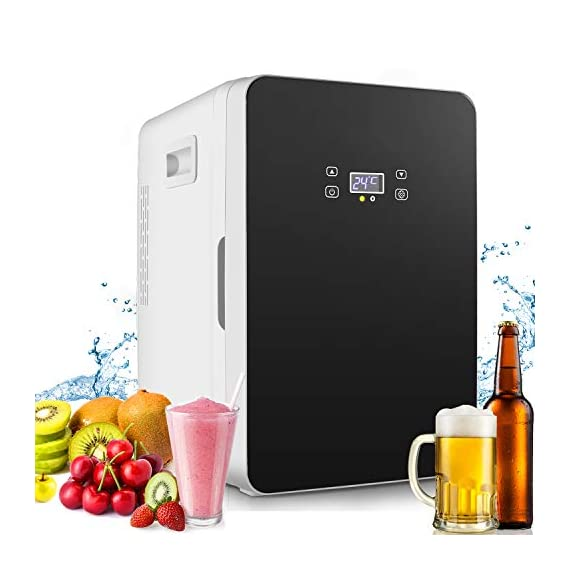 Compact Refrigerator,20-lifter Large Capacity,Cooler and Warmer Compact Freezer Single Door Mini Fridge With Digital… 1 ✓More Cooler and Warmer: refrigeration 20-25'C lower than ambient temperature;heating The highest temperature is about 65°C. No matter in outdoor hiking traveling by car or in traffic jam, you can enjoy plenty of drinks and foods at a proper temperature. ✓Vast storage space: 20L car fridge has plenty of space to pack everyone's favorite foods. The interior dimension is 20*21*33cm , External: 27*33*40Cm, and it fits easily into car trunks & seats for bulk free travel ✓Precise Temperature Control:With the easy-to-operate LCD digital display. Precise temperature control keep stuff in better condition.