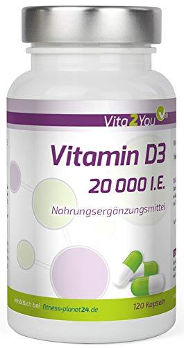 Vitamin D3 - 20.000 IE - 120 Kapseln - Hochdosiert - 1000 I.E. pro Tag - 20000 Einheiten - Premium Qualität - Made in Germany