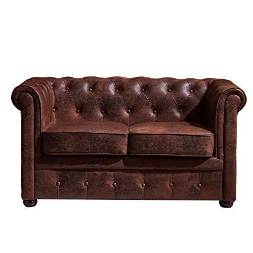 Muebles MARIETA | Sofá Chester 2 plazas Memphis | Sofá Comedor | Sofá Oficina | Tapizado en Microgamuza Lavable y Resistente a Roces | Estilo Industrial | Color Marrón