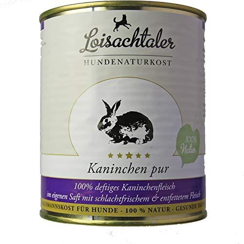 Loisachtaler Premium Hundefutter Nassfutter Kaninchen pur (6 x 800g)