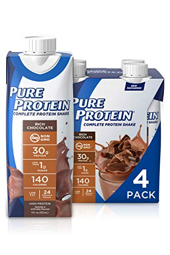 Pure Protein Chocolate Protein Shake | 30g Complete Protein | Ready to Drink and Keto-Friendly | Vitamins A, C, D, and E plus Zinc to Support Immune Health | 11oz Bottles | 4 Pack