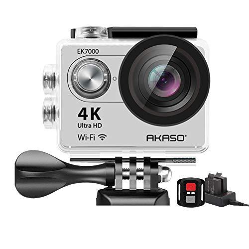 """AKASO - Fotocamera Sport Action 4K, grandangolo 170°, Full HD, con funzione Wi-Fi 12MP, waterproof, schermo LCD 2"""", 2.4G, telecomando per selezionare le funzioni, kit 19 accessori"""