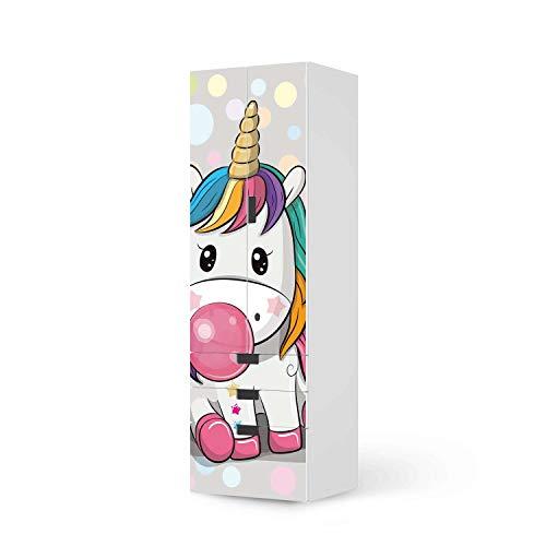 creatisto Möbel-Folie für Kinder - passend für IKEA Stuva kombiniert - 3 Schubladen und 2 große Türen (Kombination 1) I Tolle Möbeldekoration für Baby-Zimmer Deko I Design: Rainbow das Einhorn