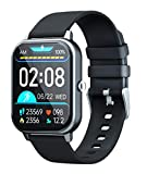 GJT 1.69'' Smart Watch, Calls and Message Notifications, LCD Fitness Tracker Watch for iPhone Samsung Android Smartphone, 8 Sport Modes, Support Heart Rate SPO² Blood Pressure Sleep Monitor ( Black )