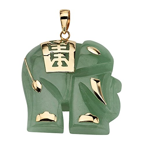 14K Yellow Gold Genuine Green Jade Good Luck Elephant Charm Pendant (33mm)