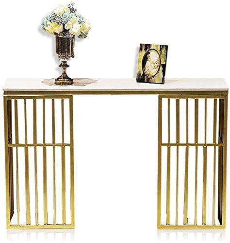 Home Accessories Table Gold Sofa Console Table Marble Entry Table Hall Table TV Console Table with Faux Marble Top and Gold Metal Frame for Living Room Entryway Bedroom White 39 * 11.8 * 29.5in