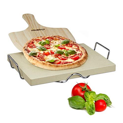 Relaxdays Pizzastein Set 3 cm Stärke mit Metallhalter und Pizzaschieber aus Holz HBT: 38x 30x 3cm rechteckiger Brotbackstein für Pizza und Flammkuchen mit Pizzaschaufel für Pizzaofen, natur