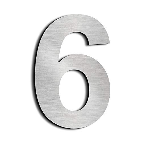 nanly Número de casa moderna-15.3Centímetros/6 pulgadas-Acero inoxidable, Apariencia flotante, Fácil de instalar y hecho de acero inoxidable sólido 304(Número 6/9)