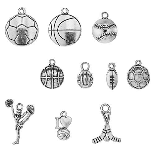 WINOMO 10 llaveros deportivos con forma de bola para deportes, fútbol, baloncesto, manualidades, joyas, para collar, pulsera y pendientes