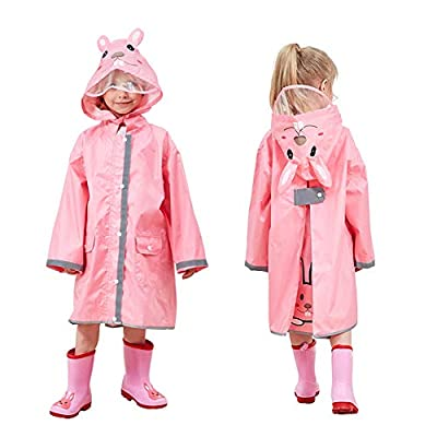 Kids Rain Coat with Hood,3D Cartoon Unisex Children Rainwear Poncho with Storage Bag,Hooded Rain Jacket with Backpack Cover,Cute Toddler Raincoat,Lightweight Rain Wear for Boy for Girl (Pink, M)