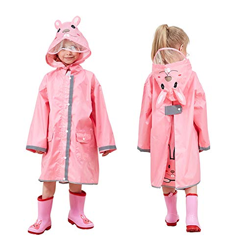 Kids Rain Coat with Hood,3D Cartoon Unisex Children Rainwear Poncho with Storage Bag,Hooded Rain Jacket with Backpack Cover,Cute Toddler Raincoat,Lightweight Rain Wear for Boy for Girl (M, Pink)