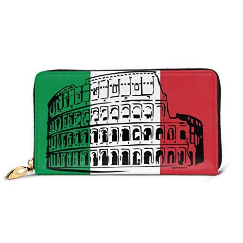 UXZTU Italienische Flagge Roman Colosseum Mode Frauen Leder Geldbörsen Reißverschluss Clutch Geldbörse