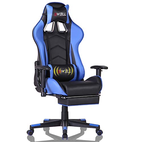 EDWELL Gaming Chair, Computer Chair,Gaming Chair for Adults, Gamer Chair,Gaming Chair with Footrest,High Back Office Chair, Desk Chair with Headrest and Massage Lumbar Support,Blue