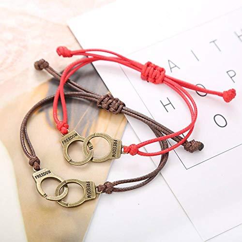 DMUEZW romantische paar armband voor vrouwen en mannen handgemaakte touw ketting vintage handboeien armbanden liefhebbers armband geschenken