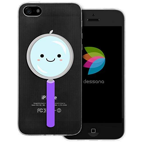 dessana schattige wetenschap transparante beschermhoes mobiele telefoon case cover tas voor Apple, Apple iPhone 5/5S/SE, Schattig vergrootglas.