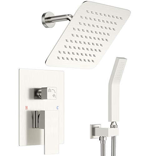 Shower System Wall Mounted Shower Faucet Set, Brushed Nickel Shower Mixer Combo with 8 Inches High Pressure Rainfall Shower Head and Hand Held Showerhead