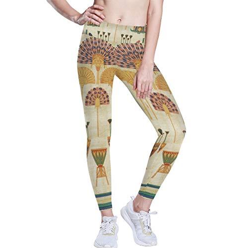 LUPINZ Antiguo Egipcio Elementos Yoga Pantalones 4 Way Stretch Tummy Control Entrenamiento Running Pantalones - Multi - Small