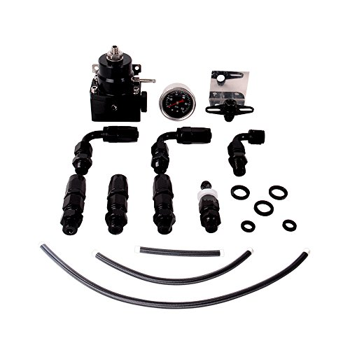 Fireshield Universal JDM Aluminum Billet Fuel Pressure Regulator Gauge Black Color