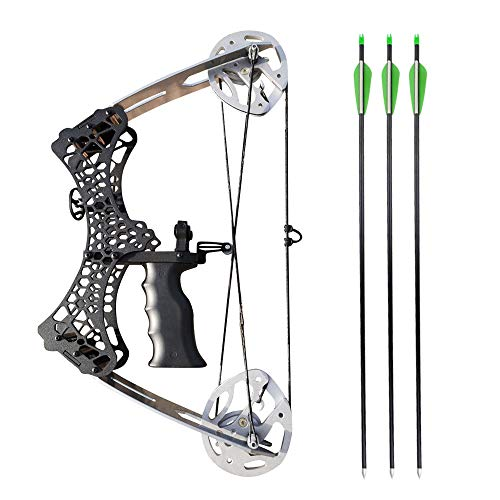 SHARROW Archery Mini Compound Bow and Arrows Set 35lbs Adult Youth Hunting Bows RHLH for Outdoor Bow Hunting Fishing Silver