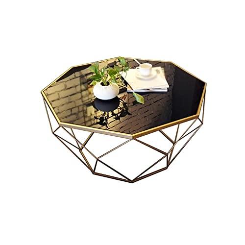 Mesa Auxiliares de Salón Mesa de centro de vidrio de hierro de vidrio de hierro labrado Mesa de cóctel de mesa de plástico reforzado, usado en la habitación de la sala de estar del dormitorio Mesa aux