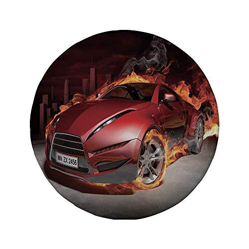 Rutschfreies Gummi-Rundmauspad Autos rote Sportwagen-Burnout-Reifen in Flammen Flammender Motor Heißes Feuer Rauch Auto-Dekorativ Rot Schwarz Orange 7.9