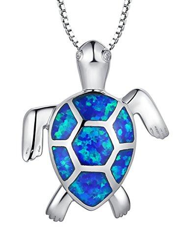 Collana con pendente da donna tartaruga con blu e verde Opale di fuoco in Argento Sterling e zirconia cubica, catenina veneziana da 46 cm - Sc027n46