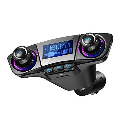 LXSTARS Transmisor FM Bluetooth Coche, [Luz de Anillo Azul] Manos Libres para Coche, Inalámbrico Reproductor MP3 Mechero Coche Adaptador Receptor con USB 5V/2.1A & 1A, Soporte Tarjetas MP3 / WMA