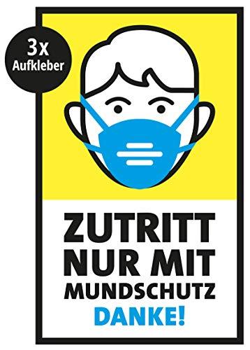 3er Set – Aufkleber – Zutritt nur mit Mundschutz – 13 x 21 cm, rechteckig, Hinweis Schild Bitte Mundschutz tragen benutzen Tür Wand, für Supermärkte, Arztpraxen, Geschäfte etc.