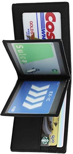 定期入れ 免許証ケース 免許証入れ メンズ カードケース 薄型 パスケース ICカード 2枚 エラー防止 本革 二つ折り (ブラック)