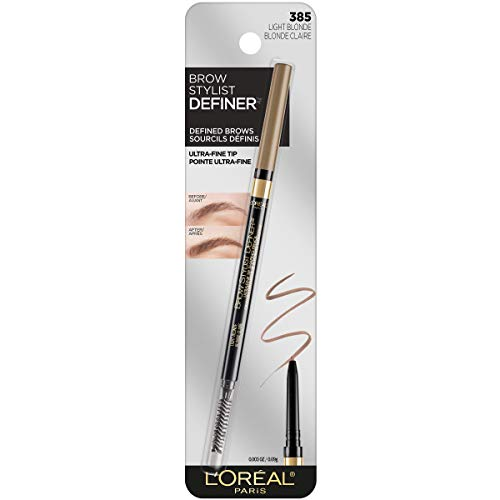 L'Oreal Paris Makeup Brow Definer Waterproof Eyebrow Pencil, Ultra-Fine Mechanical Pencil, Draws Tiny Brow Hairs & Fills in Sparse Areas & Gaps, Light Blonde, 0.003 Ounce (Pack of 1)