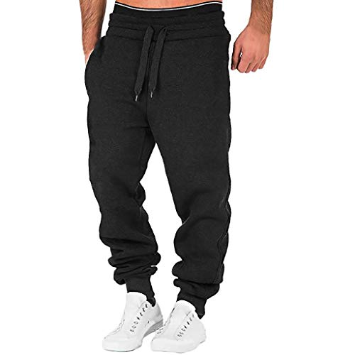 VEKDONE Men's Gym Jogger Pants Loose Fit Casual Workout Running Chino Trousers Sweatpants(Black,XX-Large)