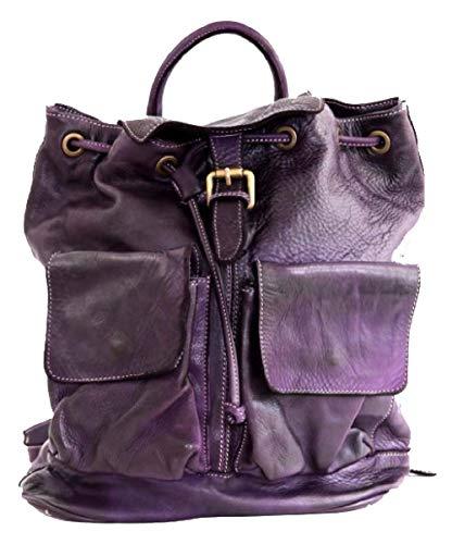 BZNA Bag Jack lila violett Backpacker Designer Rucksack Damenhandtasche Schultertasche Leder Nappa sheep ItalyNeu
