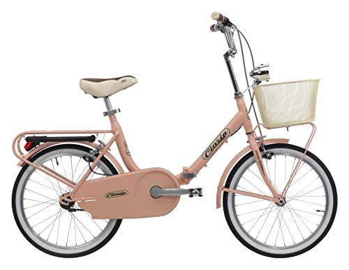 CINZIA Bici Bicicletta Pieghevole Smarty S/C con Cestino Rosa Lucido