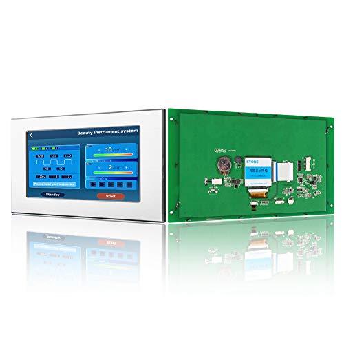 Módulo HMI TFT LCD de 10.1 pulgadas con controlador táctil del programa de interfaz serie UART y marco de metal