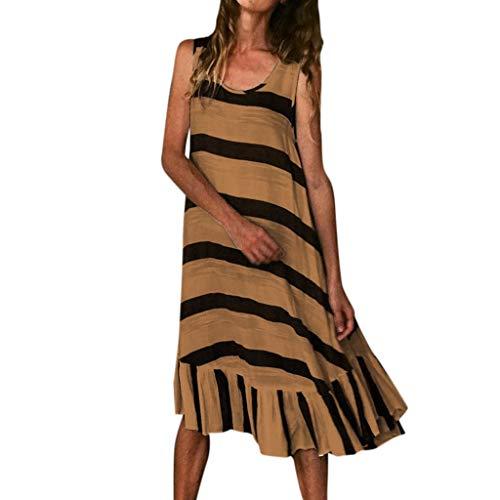 LSAltd Sommer Frauen Casual Striped Print Sleeveless Plus Size Strandkleid Damen Kurze Rüschensaum Täglich Langes Kleid