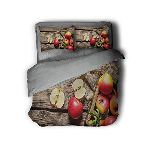 """Miles Ralph Fruits Extra Large Duvet Cover Organic Nutrition Vitamin Quilt Cover and Pillowcase 89""""x89"""" inch Gifts for Teenage Girls"""