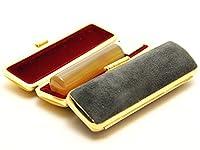 「シープホーン(羊角)印鑑10.5mm×60mmスウェードケース(ブラック)付き」 横彫り 吉相体