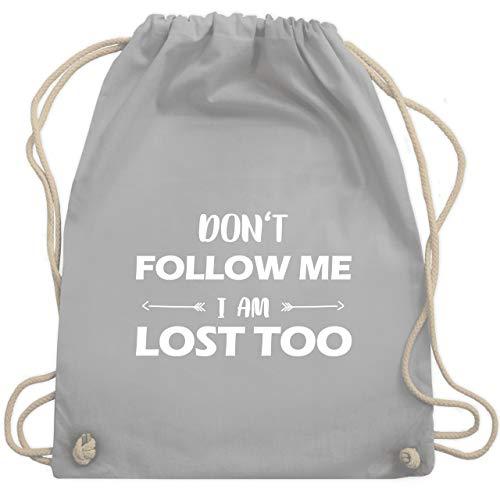 Shirtracer Festival Turnbeutel - Don't follow me I am lost too - Pfeile - Unisize - Hellgrau - lustige turnbeutel - WM110 - Turnbeutel und Stoffbeutel aus Baumwolle