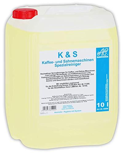 Assindia K+S Kaffee- und Sahnemaschinenreiniger Profi Spezialreiniger 10 Liter Kanister