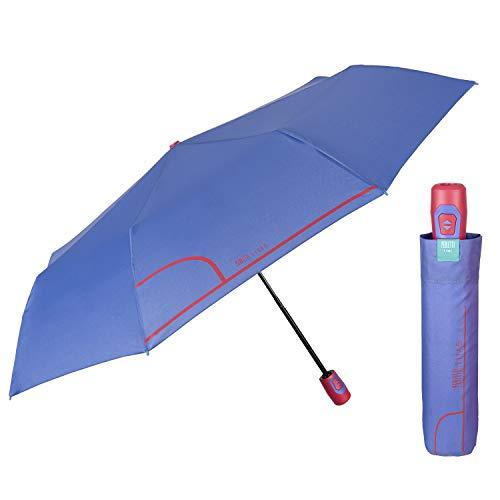 Paraguas Plegables Pequeña Mujer - Resistente Antiviento de Fibra de Vidrio - Paraguas Ligero Compacto Portátil de Viaje - Apuertura y Cierre Automática - Perletti Time (Púrpura)