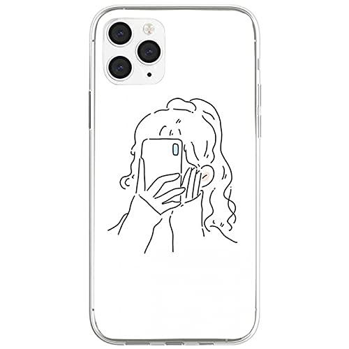 Simplifique la cabeza de la muchacha de la pluma lindo teléfono casos para el iphone 6 s 7 8plus X Xr 11 12 mini pro Max Nax Fundas Cover-a5-para iphone6 6s