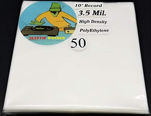 """50 78rpm 3.5mil Thick Inner Sleeves - Goes Over Any Ten Inch Vinyl Disc - 10"""" Record Frosted Plastic Poly Bag Cover (+1 Free Dj Magnet)"""