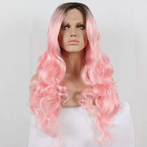 RainaHair 24 inches Body Wave Pastel Roze Ombre Pruik Donkere Wortels Midden Deel 2 Toon Lijmloze Synthetische Kant Voor Pruiken voor Vrouwen Make-up Cosplay Party