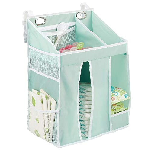 mDesign Organizer fasciatoio – Portaoggetti neonato per pannolini, talco, ciucci, giocattoli ecc. – Piccolo armadio da appendere per la camera dei bambini con tasche e scomparti – verde menta