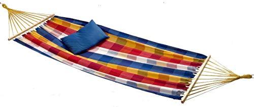 Hangmat van katoenweefsel met spreidstok, kleur: geel/blauw/wit/rood geruit