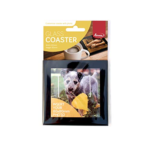 Adventa Glass, Mat, Drinks, Personalised Coaster, Photo, Kitchen, Equipment, Safety Toughened,Takes 80 x 80 mm or 3-1/8 x3-1/8'